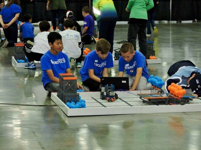 Nate Mack ES kids in robotics competition
