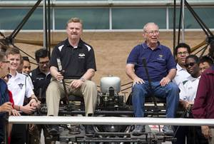 Gary Archambeault, left, department chair for the Aviation Magnet Program, and Bob Hale, a retired Rancho teacher and a member of the Air Force Association, sit in a 1905 Wright Brothers Flyer replica at Rancho High School Monday, May 15, 2017. The replica was originally made by students at the University of Southern Utah in 2003. Rancho's Aviation Academy students will restore the plane.