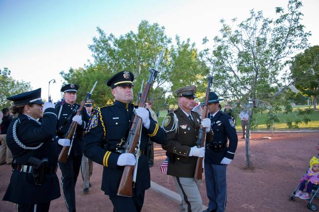 Hundreds of southern Nevada law enforcement officers, family and friends gather at Police Memorial Park to honor the 47 local law enforcement officers who died in the line of duty, Thursday May 18, 2017.