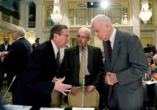 Lee Hamilton, right, and Brent Scowcroft, center, co-chairs, Blue Ribbon Commission on America's Nuclear Future Agenda, talk with former New Mexico Sen. Pete Domenici, Thursday, March 25, 2010, during the group's meeting in Washington.