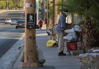 Homeless camp out on the sidewalk as the city of Las Vegas is undergoing a $15 million project to create a