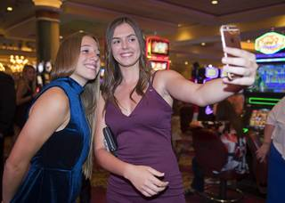 Arbor View soccer players Allyssa Larkin, left, and Haylee Niemann take a selfie before the second annual Las Vegas Sun Standout Awards, an award show recognizing local high school athletes, at the South Point Wednesday, May 24, 2017.