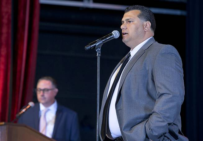 Basic High School football coach Tico Rodriguez speaks after being named Coach of the Year during the second annual Las Vegas Sun Standout Awards, an award show recognizing local high school athletes, at the South Point Wednesday, May 24, 2017.