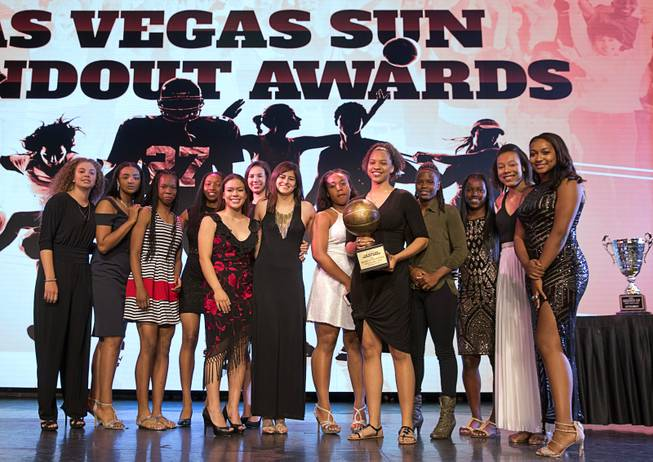 The Centennial High girls basketball team poses onstage with their Sun Standout Award of Excellence during the second annual Las Vegas Sun Standout Awards, an award show recognizing local high school athletes, at the South Point Wednesday, May 24, 2017. The team finished with a 31-1 record and No. 2 national ranking.