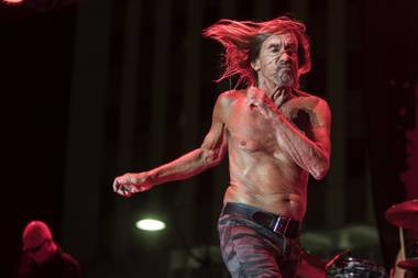 Iggy Pop struts about the stage while performing during Punk Rock Bowling at the Downtown Events Center on Saturday, May 27, 2017.