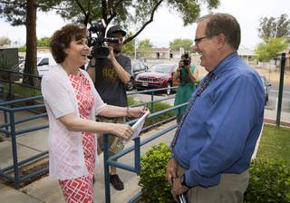 Congresswoman Jacky Rosen (D-Nev) is greeted by Michel Mullin, founder and CEO of Nevada HAND, before a tour of the Pacific Pines Senior Apartments, a Nevada HAND housing complex, in Henderson Wednesday, May 31, 2017. Rosen is advocating for full funding of housing assistance programs in the 2018 budget.