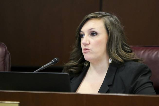 State Sen. Nicole Cannizzaro, D-Las Vegas, speaks during a Senate Judiciary Committee hearing in Carson City on Friday, June 2, 2017.