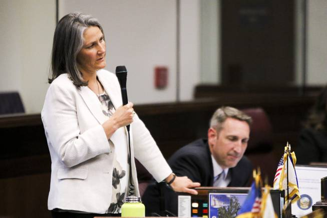 State Sen. Julia Ratti, D-Reno, speaks during a Senate floor session in Carson City on Friday, June 2, 2017.