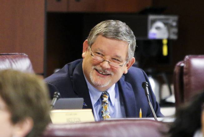 Assemblyman James Oscarson, R-Pahrump, reacts to a joke during an Assembly Ways and Means Committee hearing in Carson City on Friday, June 2, 2017.