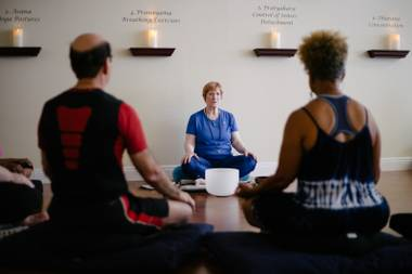 Patsy Garcia's Yoga Energy LV studio emphasizes healing and gentleness.