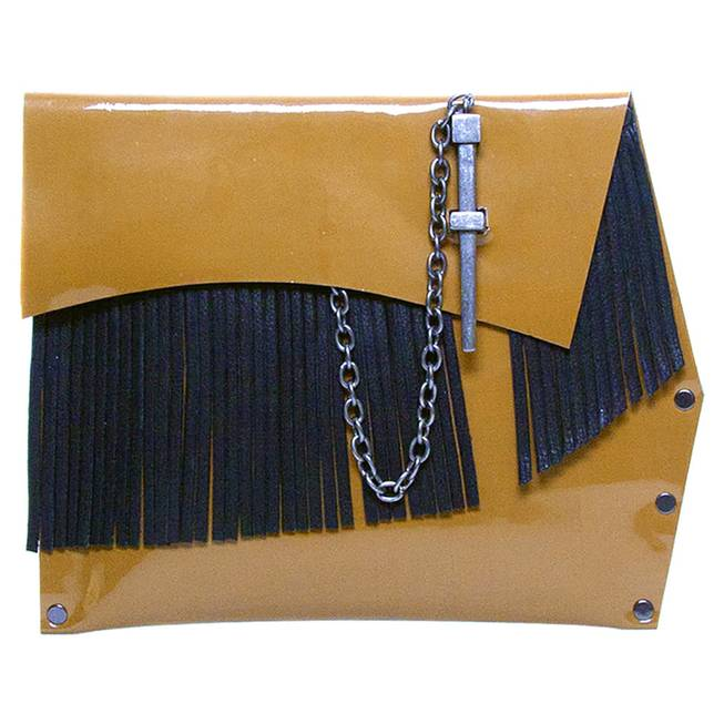 Leather Couture by Jessica Galindo camel fringe dagger clutch, $249