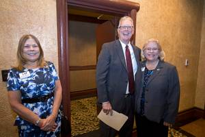 Outgoing Henderson Mayor Andy Hafen poses with Darlene Magoski, left, and Laura Fairchild during a Henderson Chamber of Commerce networking breakfast at the Fiesta Henderson Tuesday, June 13, 2017.