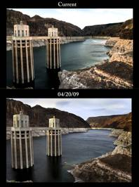 The current water level and in 2009, as seen from the Hoover Dam overlook.