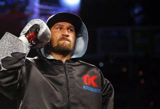 Former champion Sergey Kovalev enters the ring for his rematch with WBA/IBF/WBO light heavyweight champion Andre Ward at the Mandalay Bay Events Center Saturday, June 17, 2017 in Las Vegas. Ward retained his titles with an eighth-round TKO.