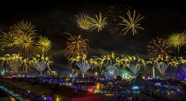Fireworks erupt over the festival grounds during the opening night of EDC Las Vegas 2017 at the Las Vegas Motor Speedway on Saturday, June 17, 2017.