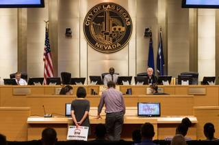Residents address council members  on proposed amendments to Las Vegas ordinances regarding short-term rental properties, during the Recommending Committee meeting in Council Chambers at Las Vegas City Hall in Downtown Las Vegas, Nev. on Monday, June 19, 2017..