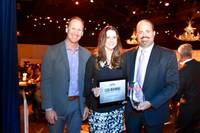 Lisa Manning and other financial executives were honored at the CFO Awards at Veil Pavilion at the Silverton on June 22, 2017. Manning is flanked by Aric Graham of Umpqua Bank and Gary Vecchiarelli, president of FEI Las Vegas.