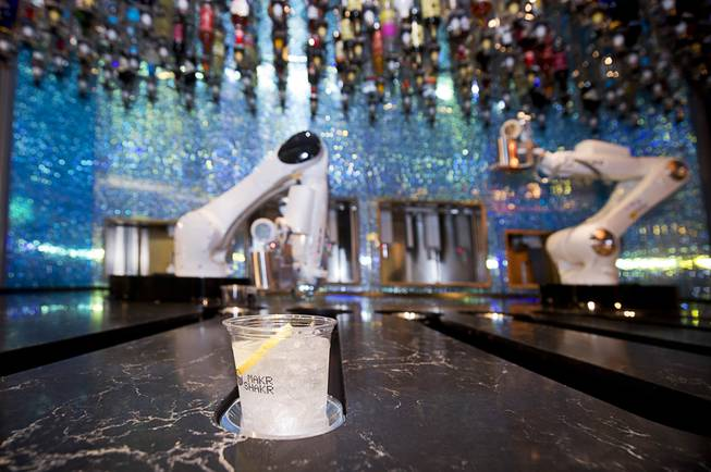 A drink prepared by robotic bartenders is shown in the Tipsy Robot automated bar in the Miracle Mile Shops at Planet Hollywood Monday, June 26, 2017. The bar is scheduled to open on Friday.