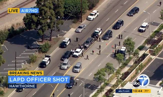 LAPD officer, homicide suspect wounded in shootout after chase ends in Hawthorne
