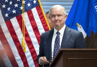 U.S. Attorney General Jeff Sessions concludes his remarks  to representatives from federal, state, and local law enforcement at the U.S. Attorney's Office in Las Vegas Wednesday, July 12, 2017.