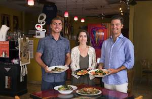 Clayton, left, Bianca, center, and Trent Alenik poses with their namesake dishes at the Pasta Shop Ristorante & Art Gallery, 2525 W Horizon Ridge Parkway, in Henderson Monday, July 10, 2017. From left: Whole Wheat Claton, Ravioli Bianca, and Diablo Trent.