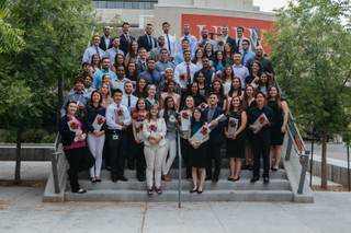 Students pose for a group photo after a stethoscope ceremony by UNLV School of Medicine for the inaugural class of medical students at the Student Union in Las Vegas, Nev. on July 17, 2017. 60 students were honored and presented with stethoscopes donated by Constantine George, MD.