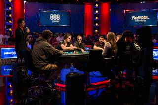 The competition continues during the World Series of Poker Main Event at the Rio in Las Vegas, Nev. on Monday, July 17, 2017.