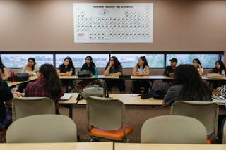 Students participate during a class taught by Leila Pazargadi at the Liberal Arts & Sciences Building at Nevada State College in Las Vegas, Nev. on July 11, 2017.  The class is part of a summer bridge program aimed to assist first-generation college students prep & become aware resources available throughout there education.