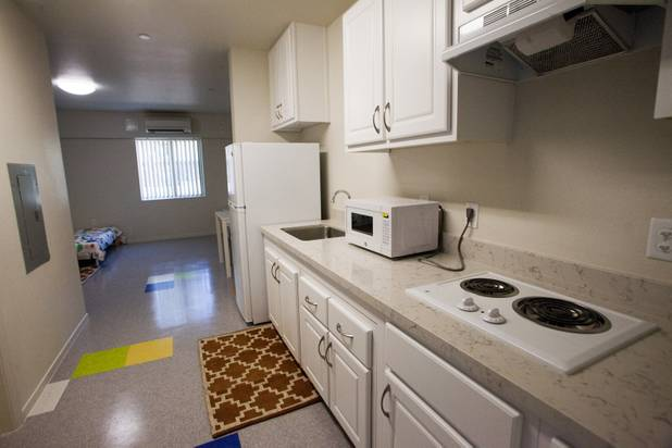 A 'step up' room or transitional living quarters is seen during the grand opening ceremony of the new Shannon West Homeless Youth Center, Friday, July 14, 2017. After two years with the center, residents can choose to move into a transitional unit for independent living.