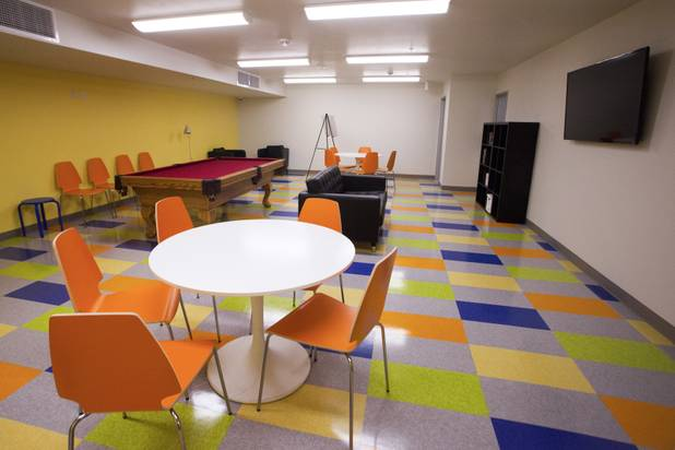 The recreational room is seen during the grand opening ceremony of the new Shannon West Homeless Youth Center, Friday, July 14, 2017.