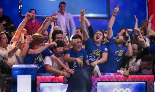 WSOP player Scott Blumstein collapses before his joyous supporters after winning poker's world championship for $8.15 Million at the Rio on Sunday, July 23 2017.