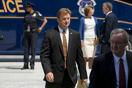Sen. Dean Heller and other senators returned to Capitol Hill after meeting with President Donald Trump regarding health care legislation at the White House in Washington, July 19, 2017. Heller has not fully supported Republicans on their plans to repeal Obamacare.