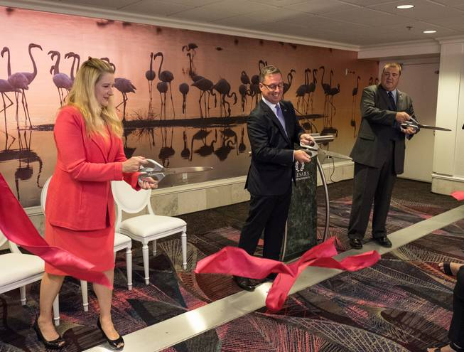 The renovation of the Flamingo's meeting halls is celebrated this week. From left are Eileen Moore, regional president of the Cromwell, Ling and Flamingo; John Schreiber, LVCVA senior director of business sales; and Michael Hartman; executive director of catering and convention services for Caesars Entertainment.