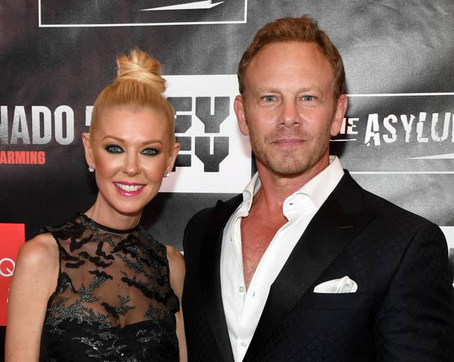 "Actress Tara Reid (L) and actor Ian Ziering attend the premiere of ""Sharknado 5: Global Swarming"" at The LINQ Hotel & Casino on August 6, 2017 in Las Vegas, Nevada."