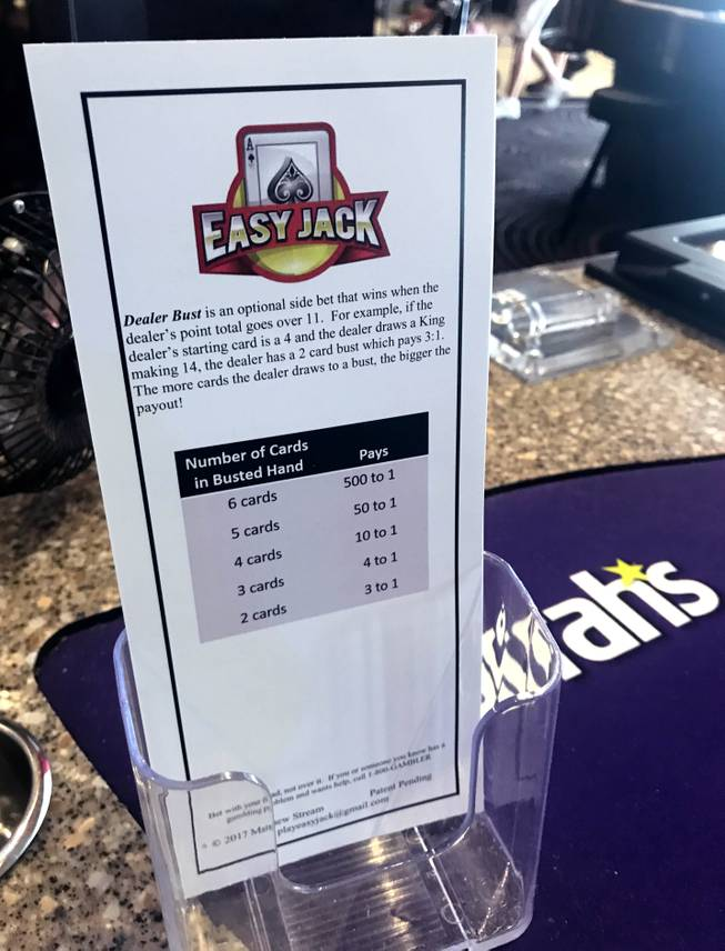 A look at the payouts for the side bet of Easy Jack, a table game at Harrah's designed by a UNLV student.
