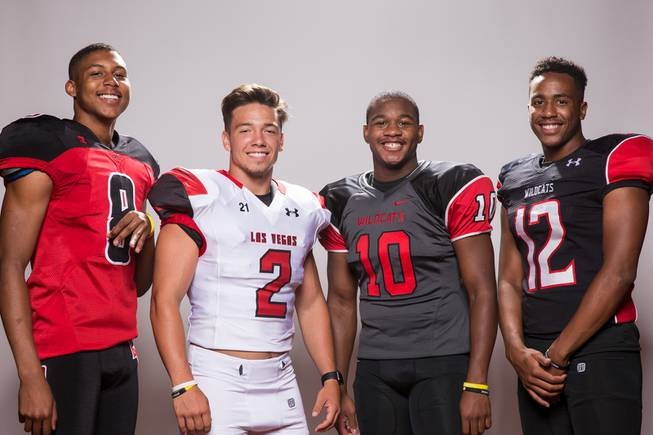 Members of the Las Vegas High School football team, from left, Zion Edward, Jake Bowden, Elijah Hicks and Zach Matlock pose for a portrait at the Las Vegas Sun's high school football media day August 2, 2017, at the South Point.