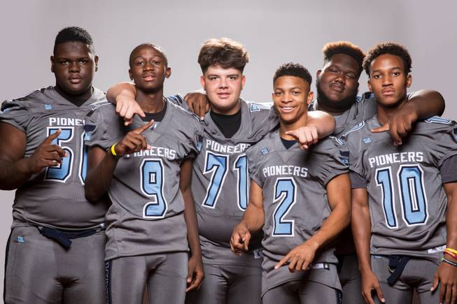 Members of the Canyon Springs High School football team, from left, Germaine Carmena, Knylen Miller-Levi, Donavan Wolfe, Diamante Burton, Shaun Greene Jr. and Keyon White pose for a portrait at the Las Vegas Sun's high school football media day August 2, 2017, at the South Point.