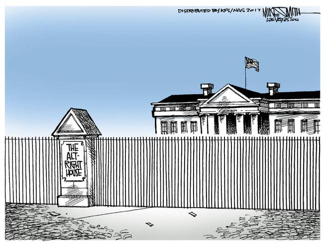 Image of the White House fronted by a fence and a sign reading