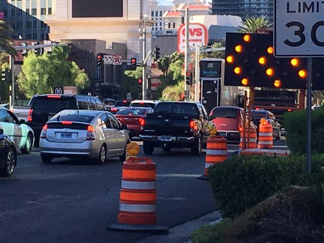 Traffic backs up near a repair project Thursday, Aug. 17, 2017, on northbound Las Vegas Boulevard north of Tropicana Avenue. In comments sent to Clark County planners and shared with the Las Vegas Sun, several local residents said a proposed elevated expressway serving McCarran International Airport would do nothing to relieve congestion on the Strip.