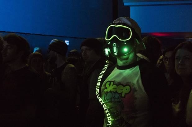 A Sleep fan wears an led lit mask during their performance at the Psycho Festival at the Hard Rock Hotel and Casino Friday, Aug. 18, 2017.