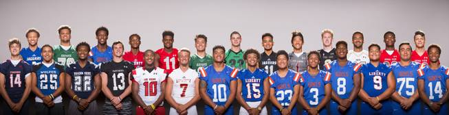 Members of the Las Vegas Sun All-City football team, front row from left, Gavin Wale, Jordan Gallegos, Aubrey Nellems, Daniel Bellinger, Elijah Hicks, Kenyon Oblad, Palaie Gaoteote, Octavian Bell, Derek NG, Jalen Nailor, Adam Plant, Crishaun Lappin, Jacob Isaia, and Dorian Thompson-Robinson. Back Row, Jaden Mitchell, Eric Brown, Brevin Jordan, Allan Mwata, Isaiah Herron, Christian Mayberry, Jayden Parkins, Kaleb Ramsey, Josh Hong, Elijah Kothe, John Schulte, Elijah Wade, and Deago Stubbs, August 2, 2017, during the Las Vegas Sun High School Football Media Day at the South Point.