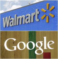 In this combo of file photos shows, a Google sign at a store on Aug. 7, 2017, in Hialeah, Fla., bottom, and a Walmart sign on June 1, 2017, in Hialeah Gardens, Fla. Walmart, the world's largest retailer, said Wednesday, Aug. 23, that it's working with Google to offer hundreds of thousands of items from laundry detergent to Legos for voice shopping through Google Assistant. The capability will be available in late September.