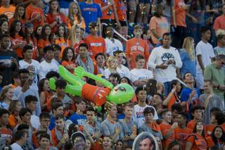 Bishop Gorman High School fans look to their team as they host DeMatha of Maryland on Friday, August 25, 2017.