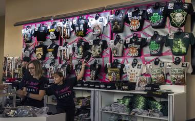 Merchandise is on sale for the Conor McGregor versus Floyd Mayweather fight at the T-Mobile Arena.