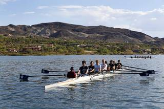 Lake Las Vegas Rowing Club high school teams practice at lake in Henderson Monday, Aug. 28, 2017.