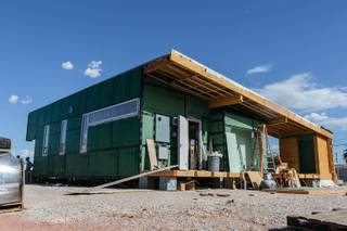 Construction continues on UNLV's  990-square-foot home in Las Vegas, Nev. on August 28, 2017. The house will be entered in the international 2017 U.S. Department of Energy Solar Decathlon later this year.