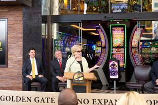 Las Vegas Mayor Carolyn Goodman makes a few remarks at the opening ceremony of the new expansion at Golden Gate Hotel & Casino in downtown Las Vegas, Friday Sept. 1, 2017.