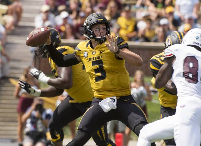 Missouri quarterback Drew Lock throws a pass during the third quarter of an NCAA college football game against Missouri State Saturday, Sept. 2, 2017, in Columbia, Mo. Missouri won 72-43.