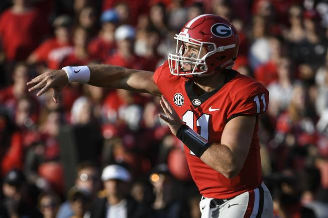 Georgia quarterback Jake Fromm passes against Appalachian State during an NCAA college football game, Saturday, Sept. 2, 2017, in Athens, Ga. Georgia won 31-10.