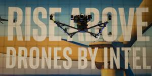 An Intel Flacon 8+ Drone takes flight during InterDrone at the Rio which features 185 drone manufacturers, sellers, demonstrations and speakers on Wednesday, September 6, 2017.
